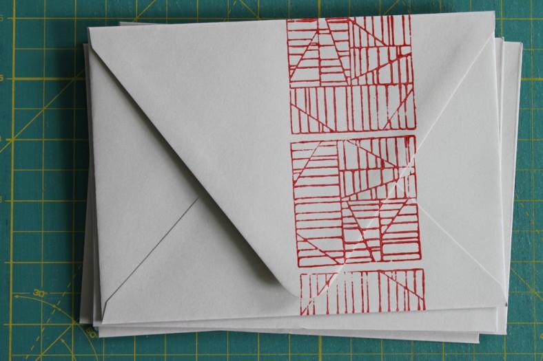 aerial envelope red carolyn friedlander
