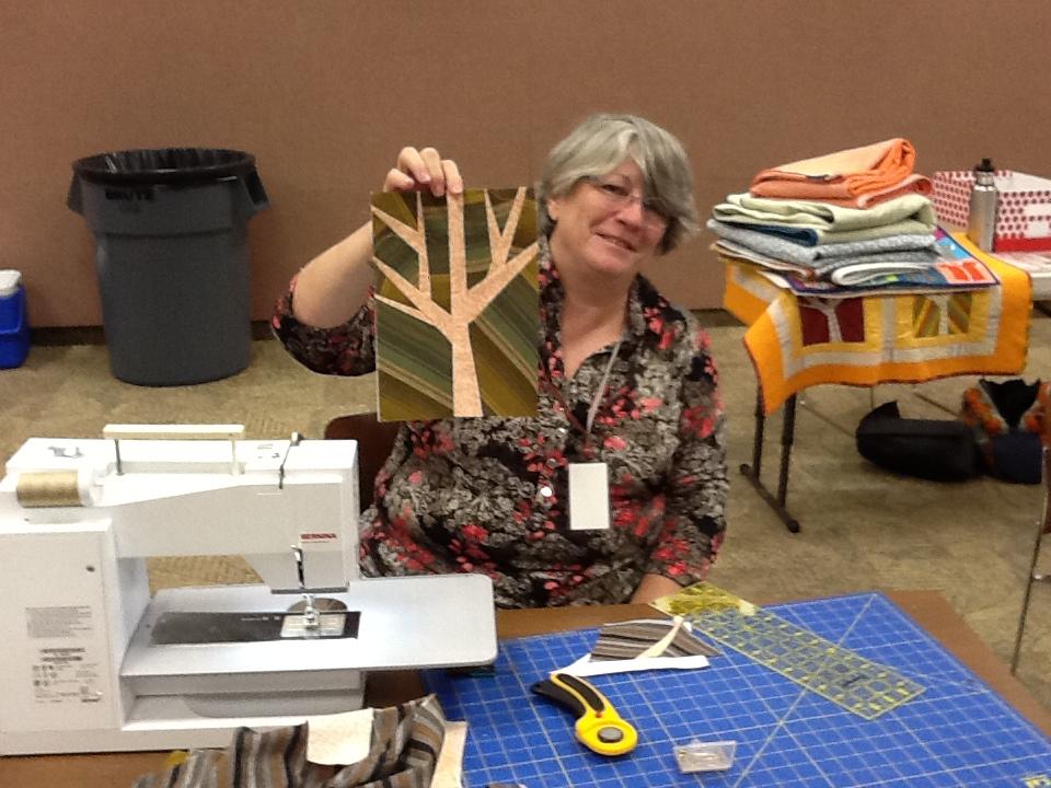 making olive quilt at orlando modern quilt guild workshop