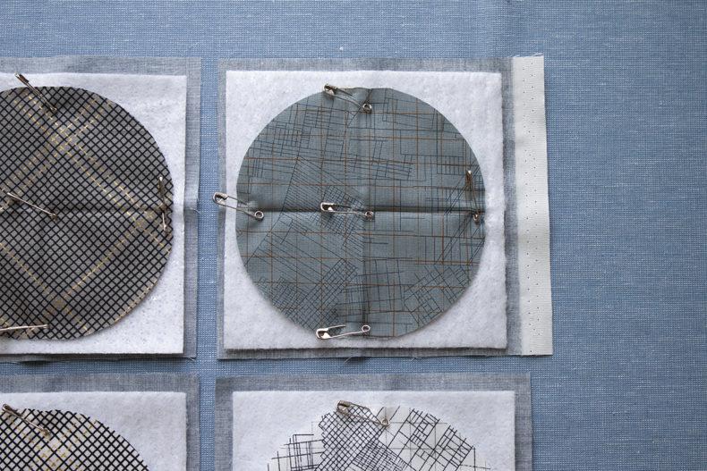 big stitch coasters tutorial-baste layers . carolyn friedlander