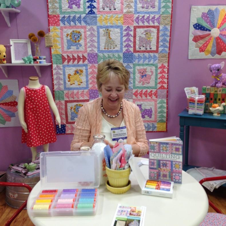 Darlene Zimmerman stitching away