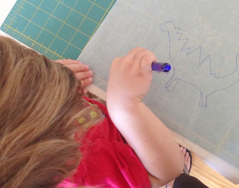 drawing dinosaurs with Jacob_Carolyn Friedlander