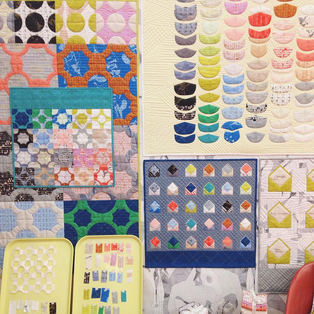 carolyn friedlander . ebb, envelopes and everglade quilts in carkai fabric