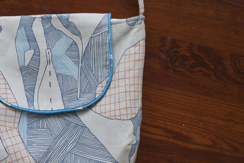 gatherer crossbody bag in carkai fabric . carolyn friedlander