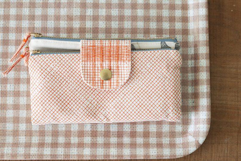 euclid tangerine double zip wallet