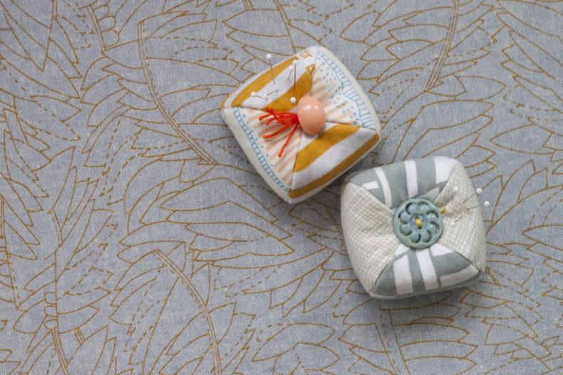 dumpling pincushions in Blake fabric
