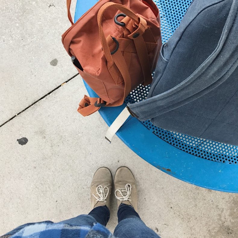 traveling in blue and brown
