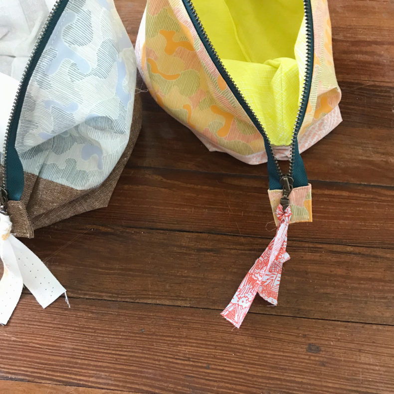 open wide pouches in gleaned fabric . carolyn friedlander
