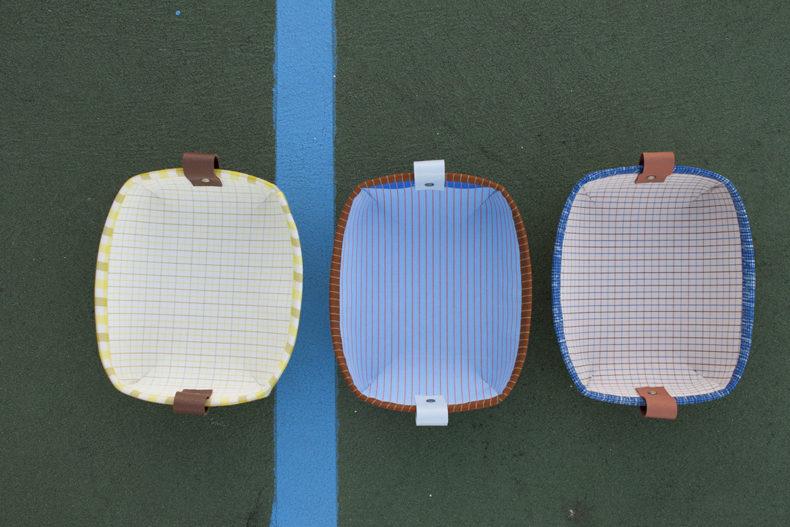 Tiny Treasures Basket and Tray in Harriot Fabric . Carolyn Friedlander