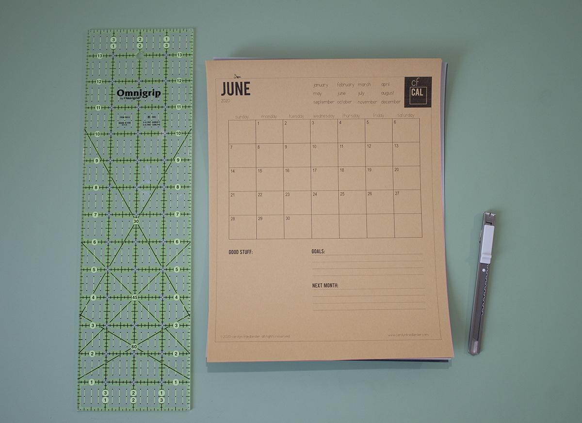 CF 2020 printable calendar . carolyn friedlander