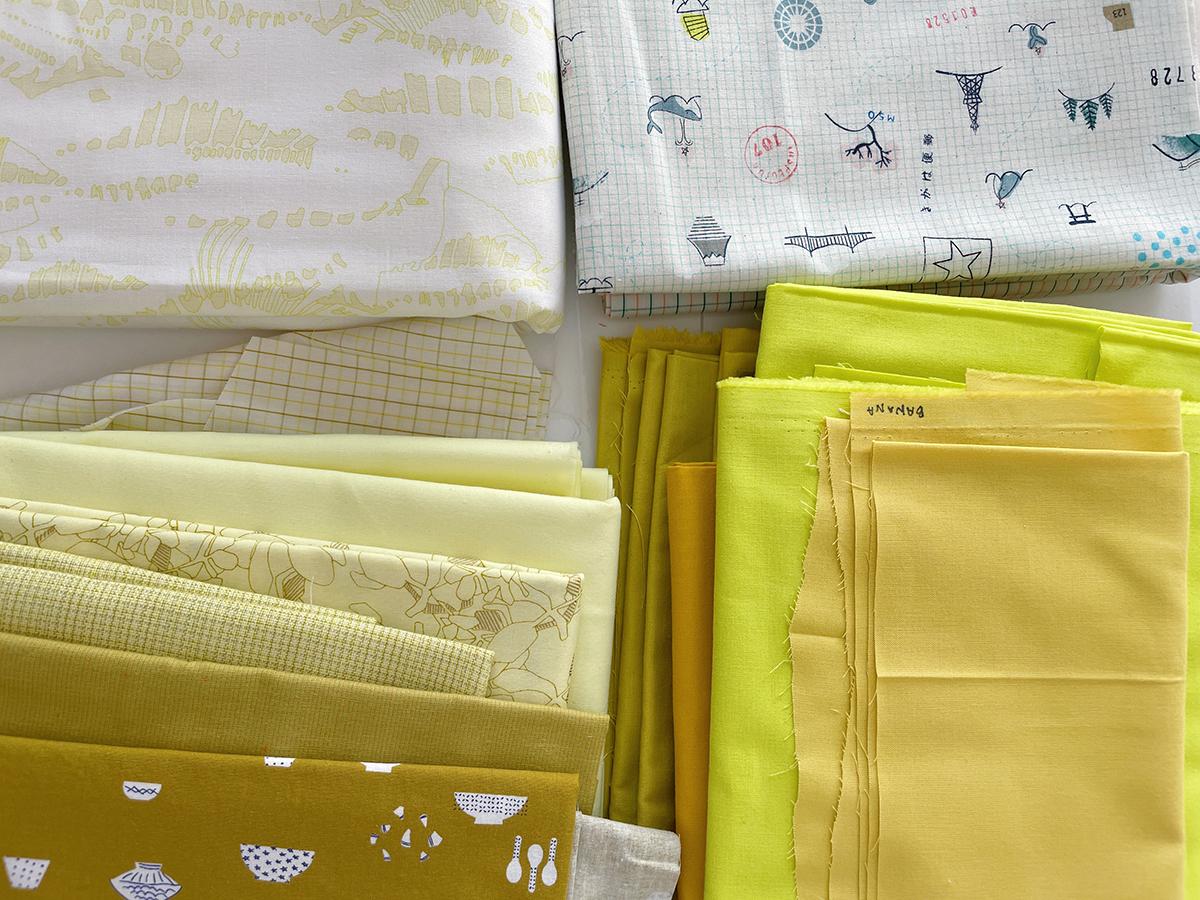 ray quilt along, yellow fabrics