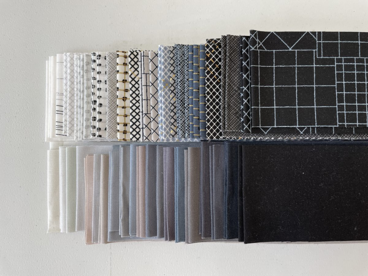 CF Grid Group and Kona cotton fabrics for Aerial Update quilt . carolyn friedlander