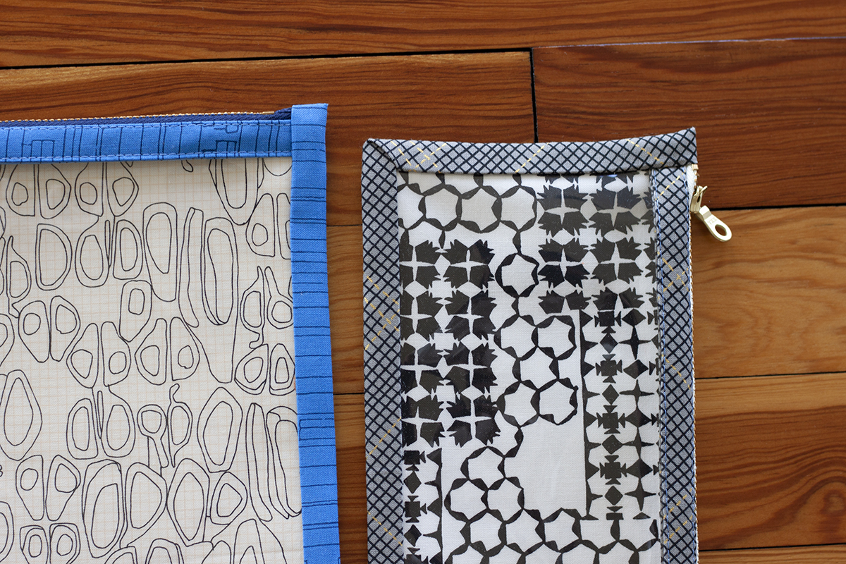 speedy vinyl pouches in Kept fabric