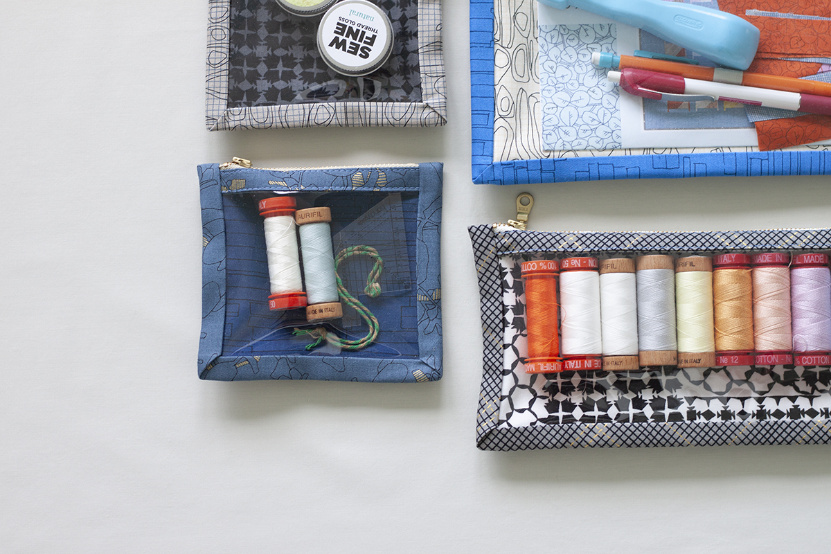 Kept Pouches holding thread, thread gloss and other notions