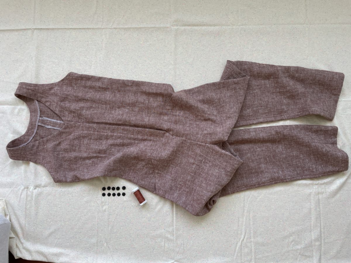 Rory Jumpsuit in Brussels Washer linen with snaps
