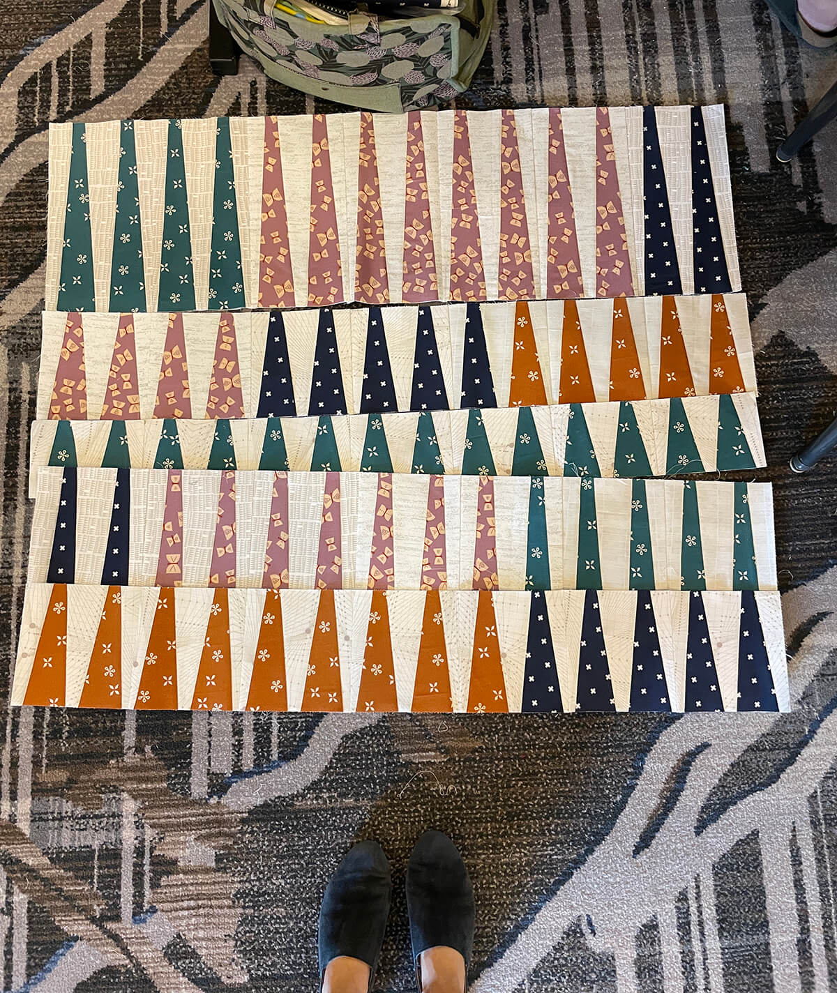 long leaf quilt project underway at Sew Fancy