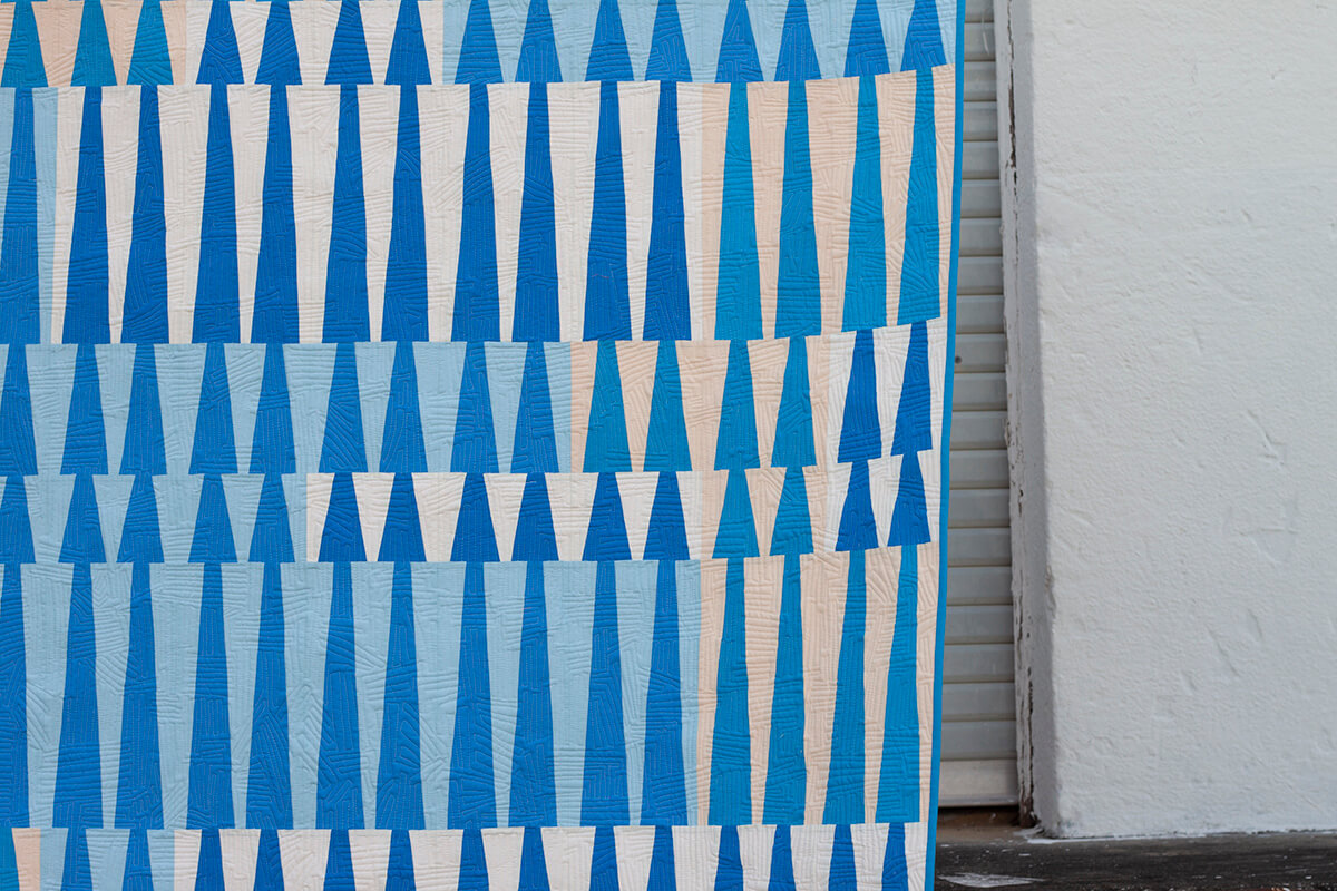 close up of Long Leaf Quilt in Kona Cotton by carolyn friedlander