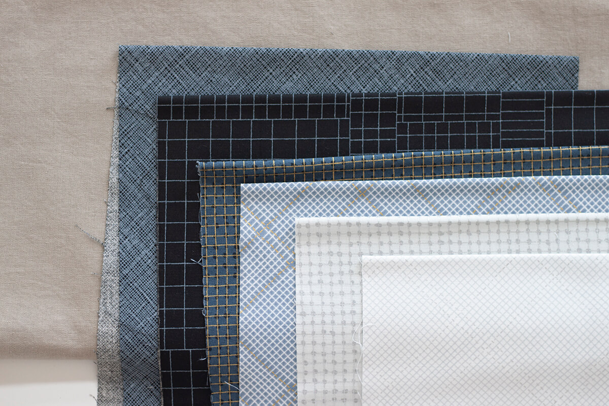 CF Grid Group Fabrics and Essex Linen in Putty